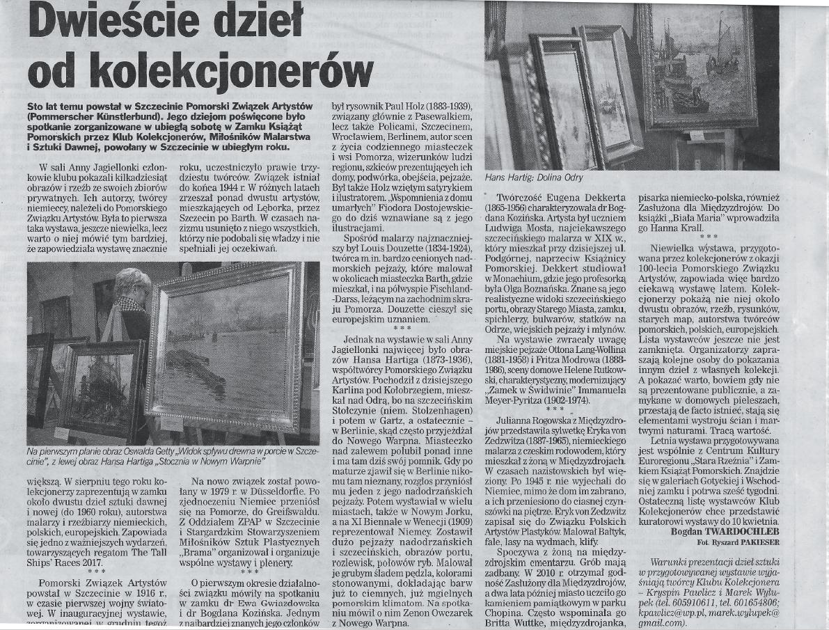 Bogdan Twardochleb, Dwieście dzieł od kolekcjonerów, Kurier Szczeciński, 22.03.2017