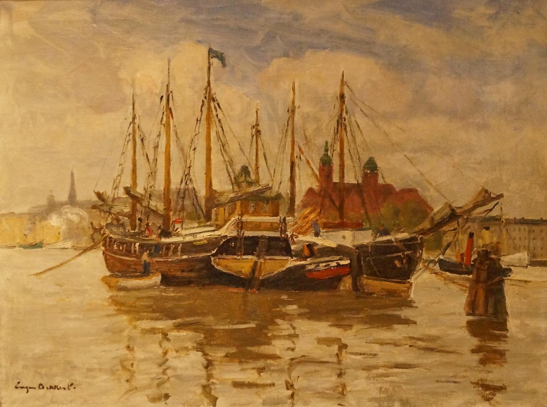 Eugen Dekkert, Statki na Odrze, olej na płótnie, 70cmx90cm