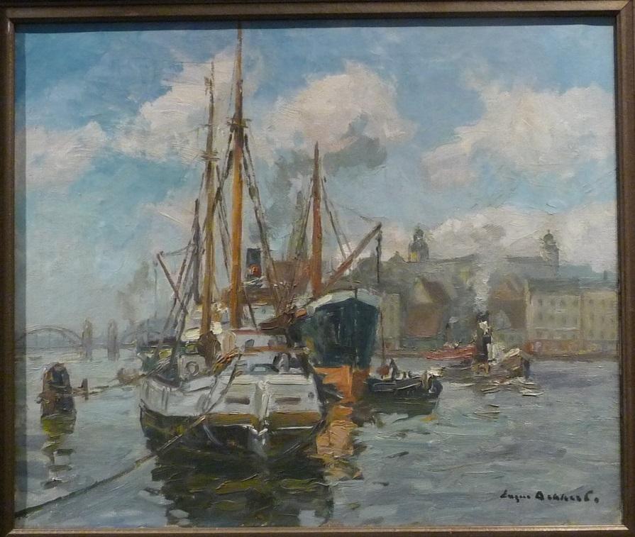 Eugen Dekkert, Statki przy wyspie Grodzkiej, olej na płótnie, 48x68 (w oprawie 66x86),