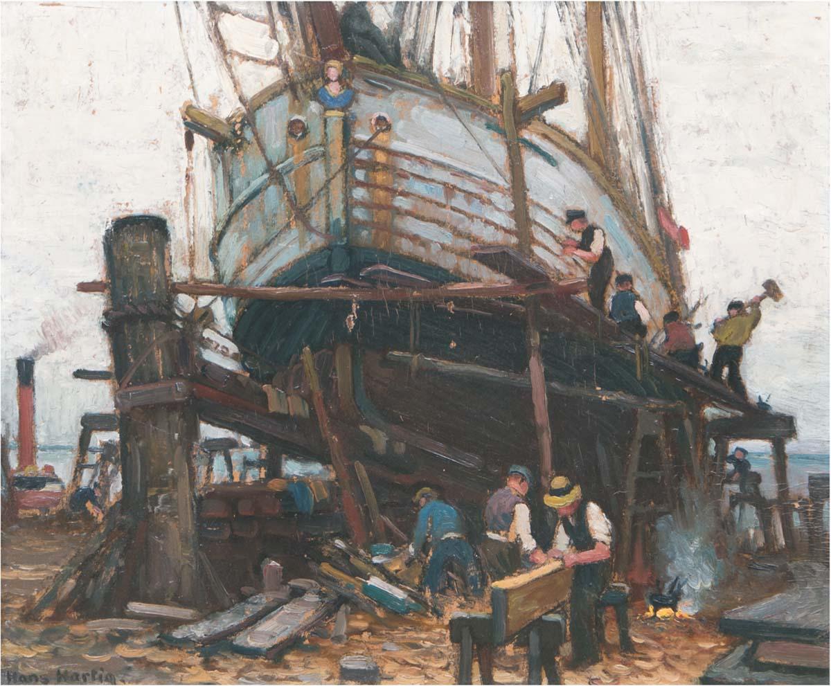 Dopiero wtedy powstaje obraz. Hans Hartig, Neuwarp, Fischkutter im Dock, 40cmx48cm, auktionshaus Satow
