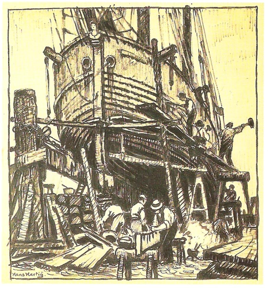 Następnie artysta wykonał szkic piórkiem, Neuwarp, Auf der Werft ,1924, 47cmx43cm