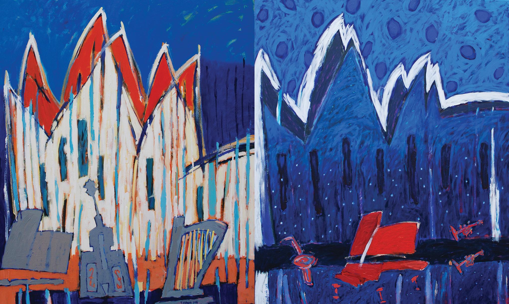 Tomasz Wojtysek, Kocert w Szczecinie 3, 2016, akryl na płótnie, 120x100cm; Koncert w Szczecinie 2, 2016, akryl na płótnie, 120x100