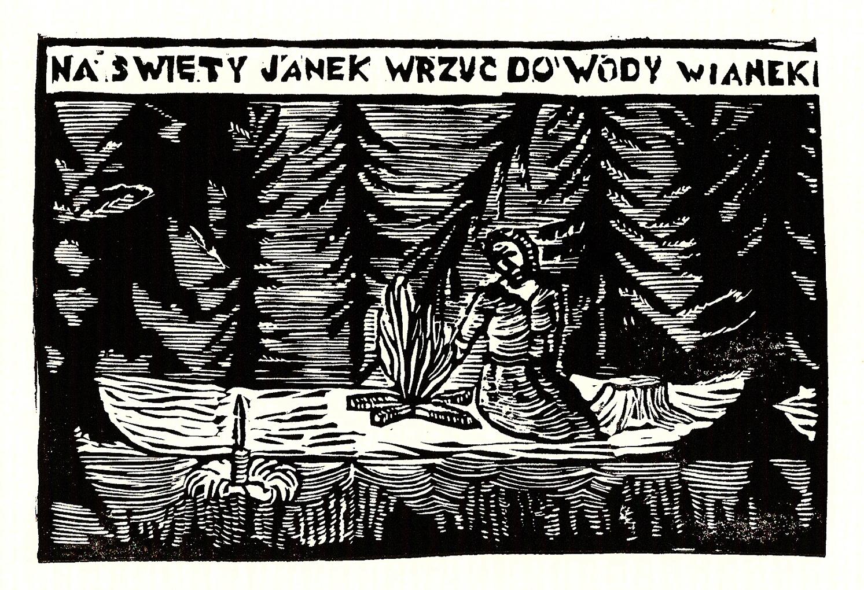 Sylwia Zawiślak, Na św. Janek wrzuć do wody wianek, 2014, grafika na papierze, linoryt, Wielkość arkusza pracy 21 x 29,7 cm