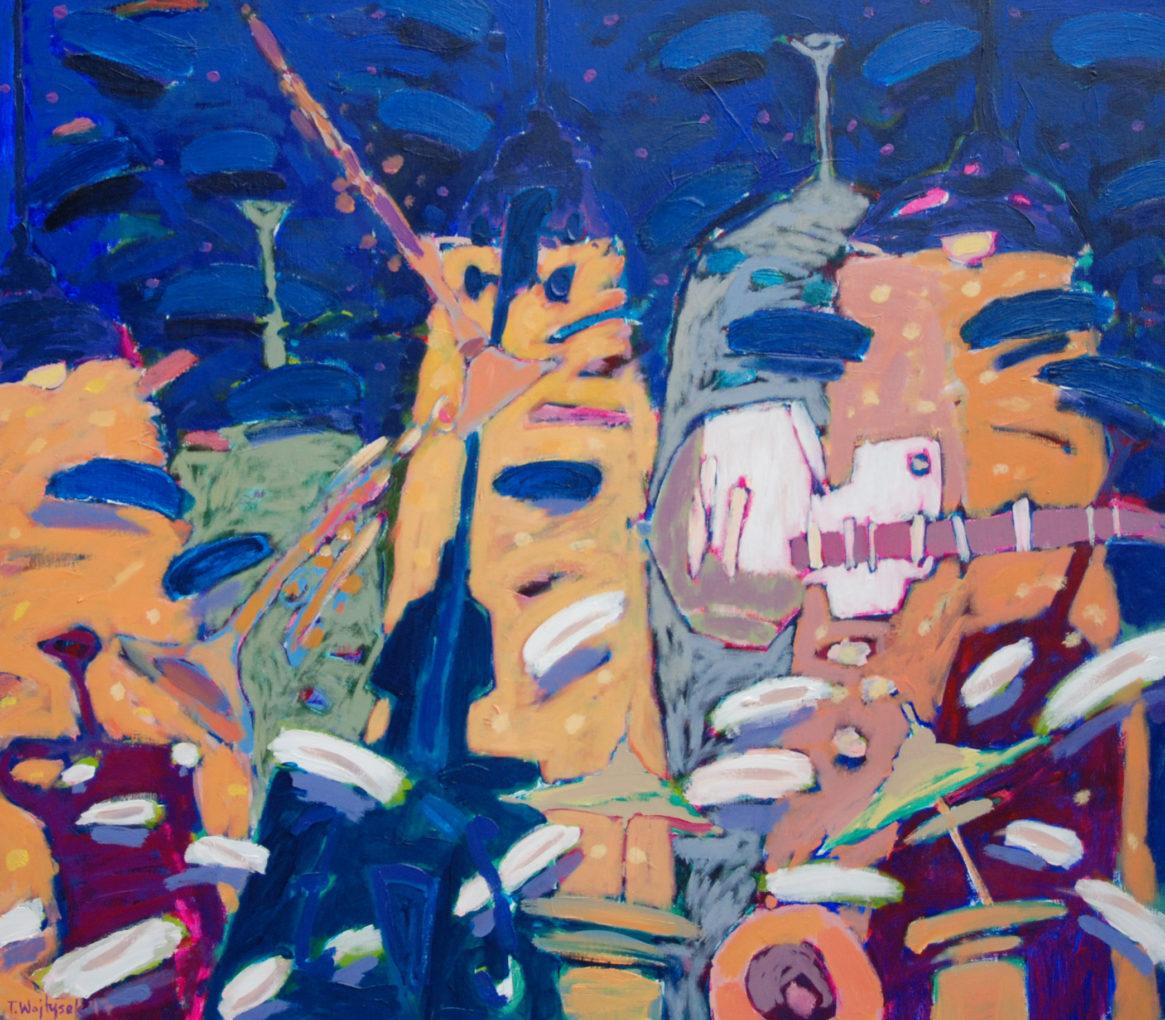Tomek Wojtysek, Biała gitara, 2017, akryl na płótnie, 70 x 80 cm