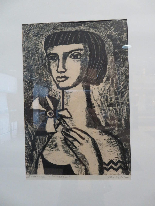 Marian Nyczka, Dziewczyna z kwiatem, 1957, monotypia, 40 x 28 cm