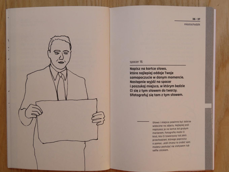 """Instrukcja do spaceru nr 16 z książeczki dr. Pawła Kuli """"miastochodzik. Spacery miejskie"""",2018"""