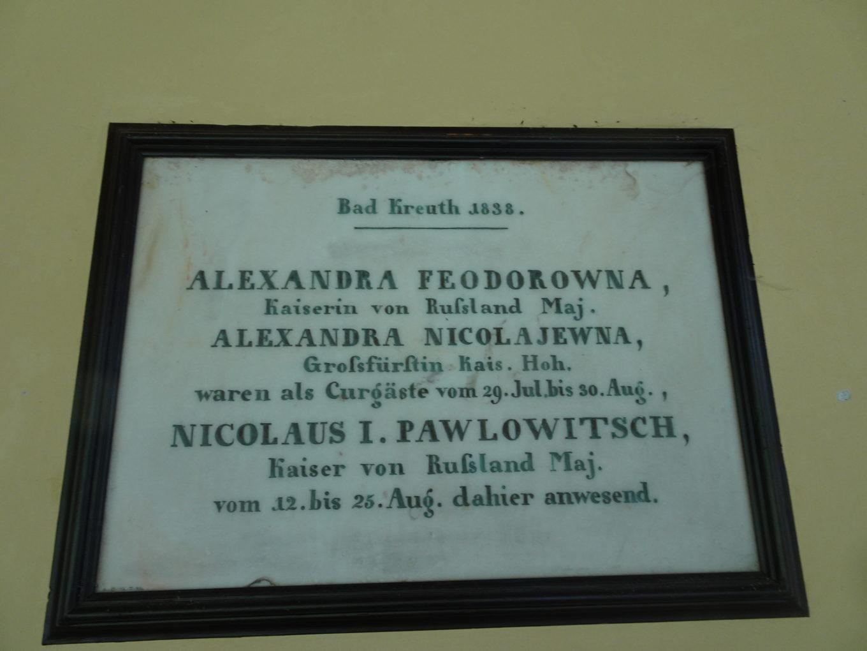 Tablica upamiętniająca pobyt w Bad Kreuth cara Rosji Mikołaja I z rodziną w 1838 roku