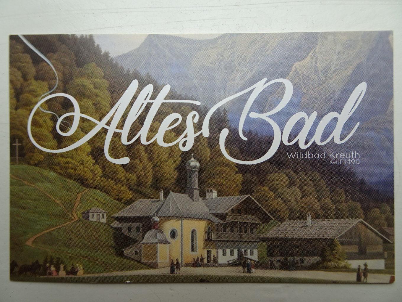Obecna wizytówka uzdrowiska Altes Bad w Kreuth, barwna rotograwiura, offset na kartonie