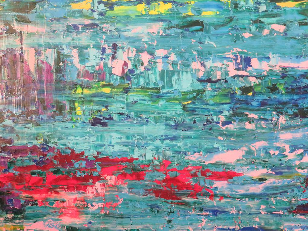 Bożena Mozolewska, z cyklu Przestrzeń (fr.), 2919, olej na płótnie, 200 cm x 100 cm