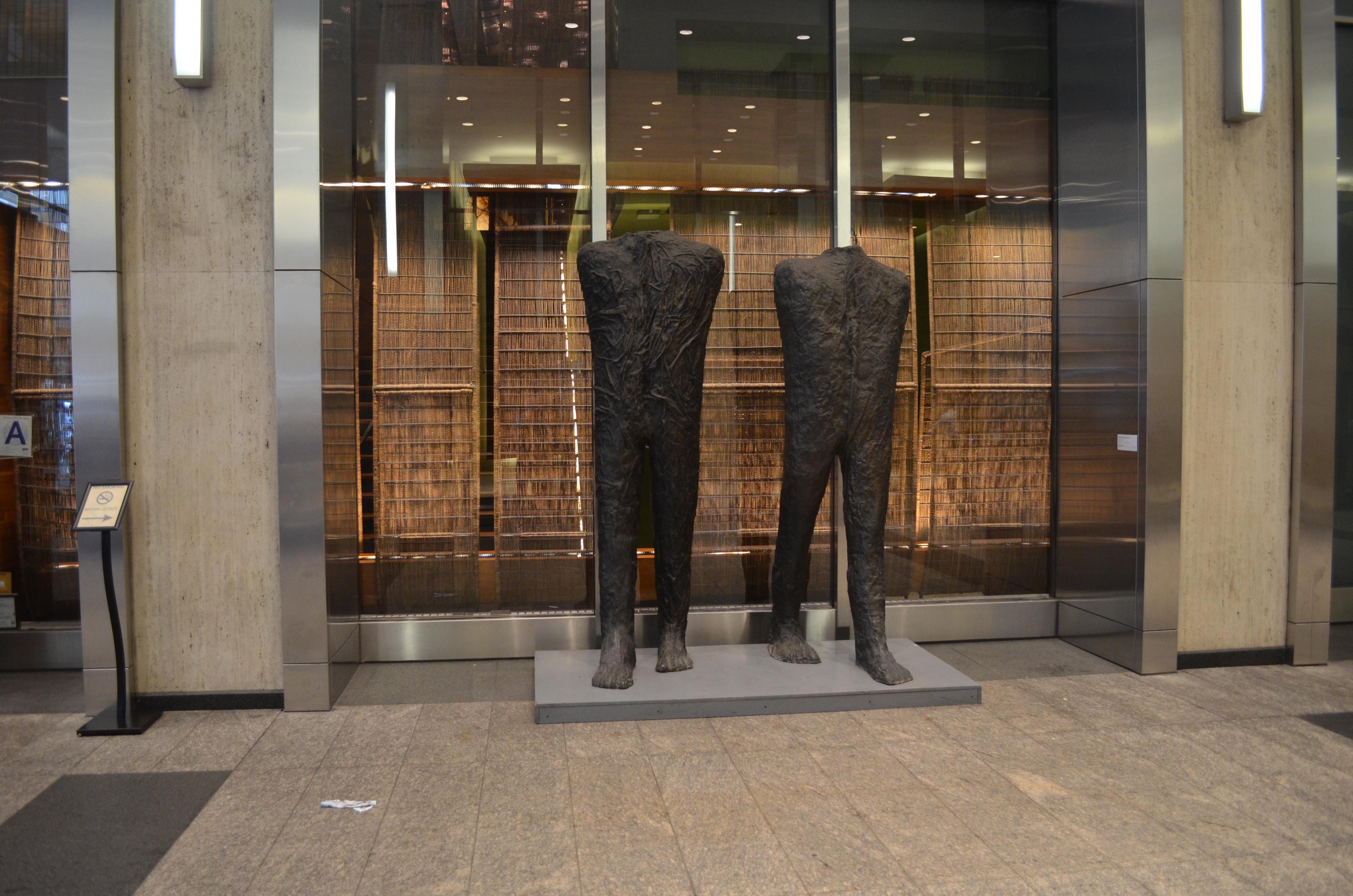 Magdalena Abakanowicz, Walking Figures, 2009, Left: 102 ½ x 35 x 34 ½ in., 260,4 x 89 x 87,6 cm, Right: 99 1 x 33 ¼ x 45 in., 257 x 84,5 x 114,3 cm