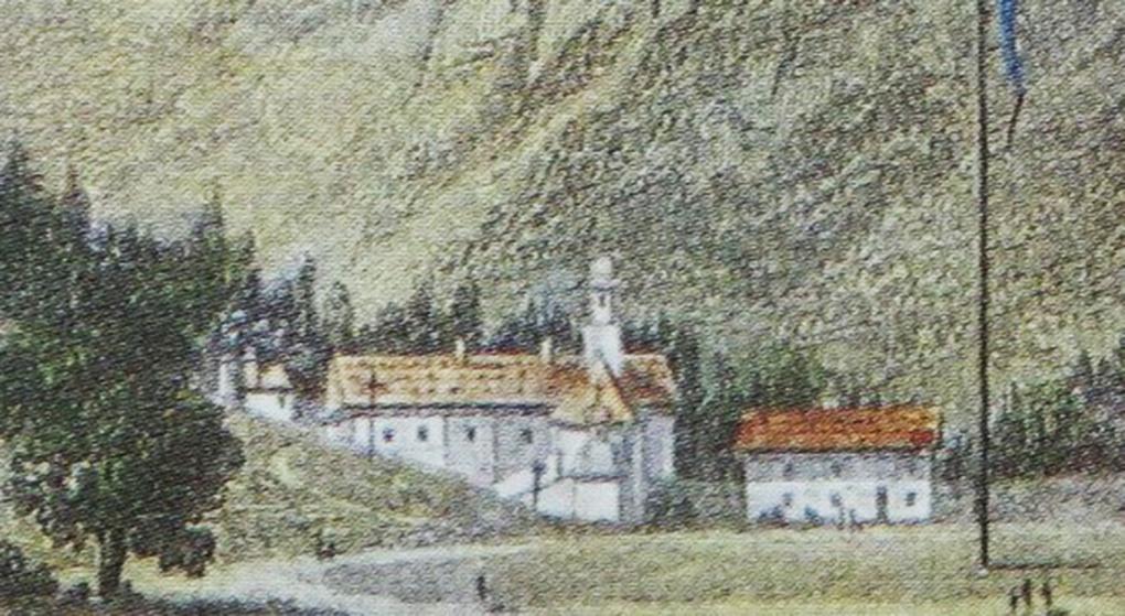 Najstarsza zabudowa kurortu Kreuth, fragment anonimowej ryciny, około 1822, reprodukcja w: H. Halmbacher, Das Tegernsee Tal in historischen Bildern, Hausham 1982, t. 2, s. 271