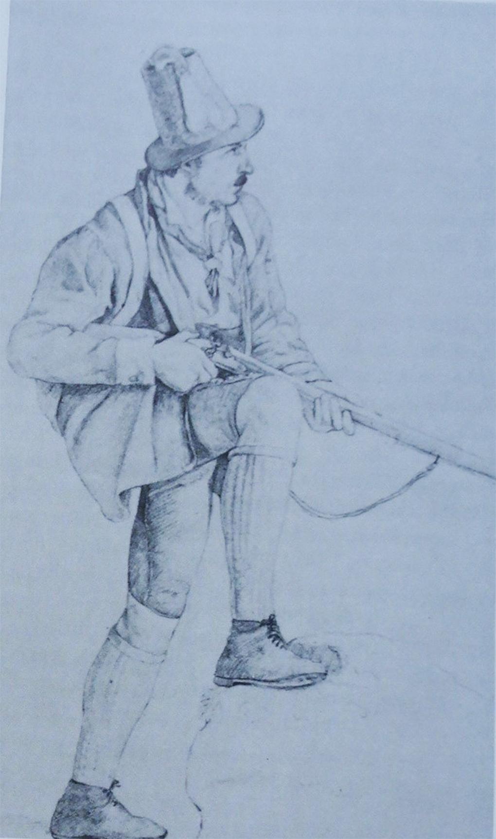 Wirth, Myśliwy z Tegernsee, 1811, rysunek ołówkiem na papierze, reprodukcja w: H. Halmbacher, Das Tegernsee Tal in historischen Bildern, Hausham 1982, t. 2, s. s. 291