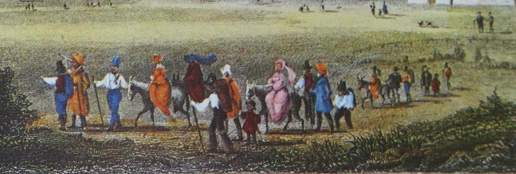 Artysta nieznany, Wesoły pochód na pierwszym planie widoku Bad Kreuth około 1822, rycina barwna, reprodukcja w: H. Halmbacher, Das Tegernsee Tal in historischen Bildern, Hausham 1982, t. 2, s. 271