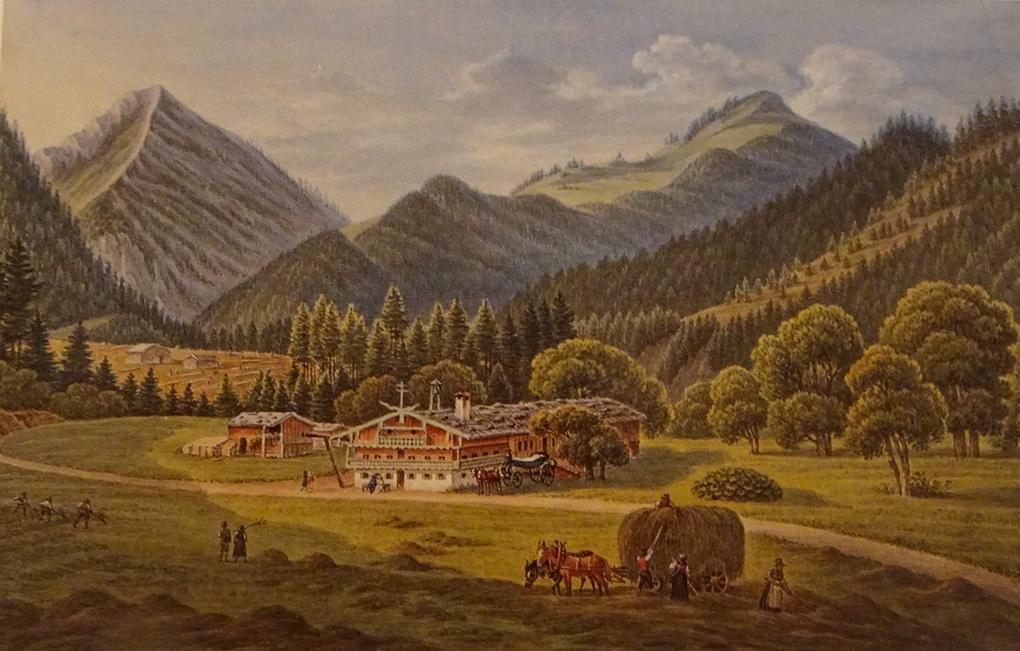 Franz Jaschke, U chłopów w Au, 1827, rysunek, akwarela, reprodukcja w: H. Halmbacher, Das Tegernsee Tal in historischen Bildern, Hausham 1982, t. 2, s. 316