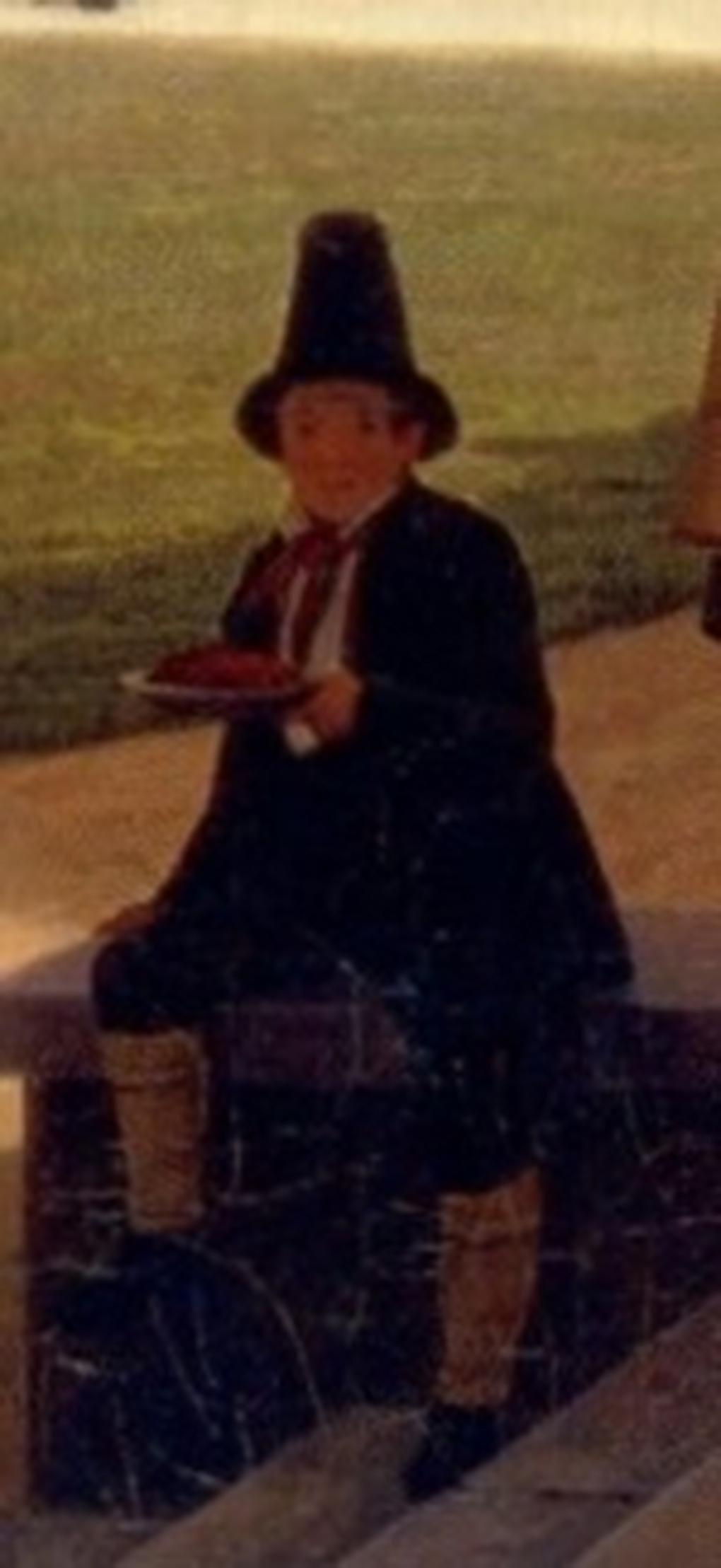 Zdj. 1 Ludwig Most, Chłopiec w stroju regionalnym pracujący w zakładzie mleczarskim w Kreuth, fragment obrazu Wspomnienie z Kreuth, 1841, olej na płótnie, Christie's, London, 19th Century European art., 16.11.2006, s. 37, poz. kat. 24.