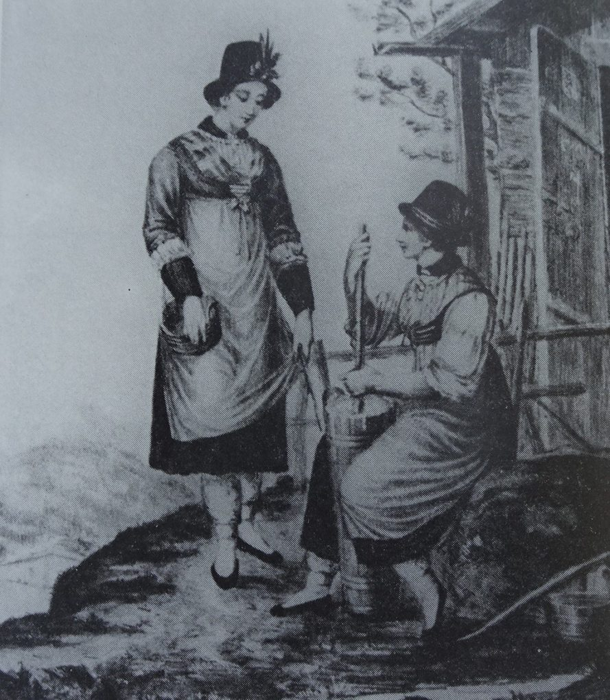 Autor anonimowy, Pasterki alpejskie, około 1825, litografia ze zbioru Lipowsky, reprodukcja w: H. Halmbacher, Das Tegernsee Tal in historischen Bildern, Hausham 1982, t. 2, s. 610