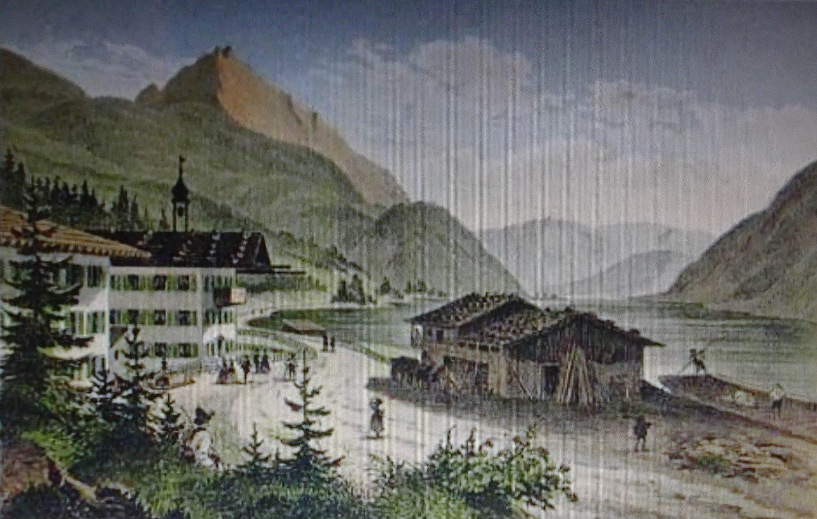 Autor anonimowy, Widok hotelu Scholastyka nad Achensee, około 1840, staloryt barwny na papierze, zbiory prywatne