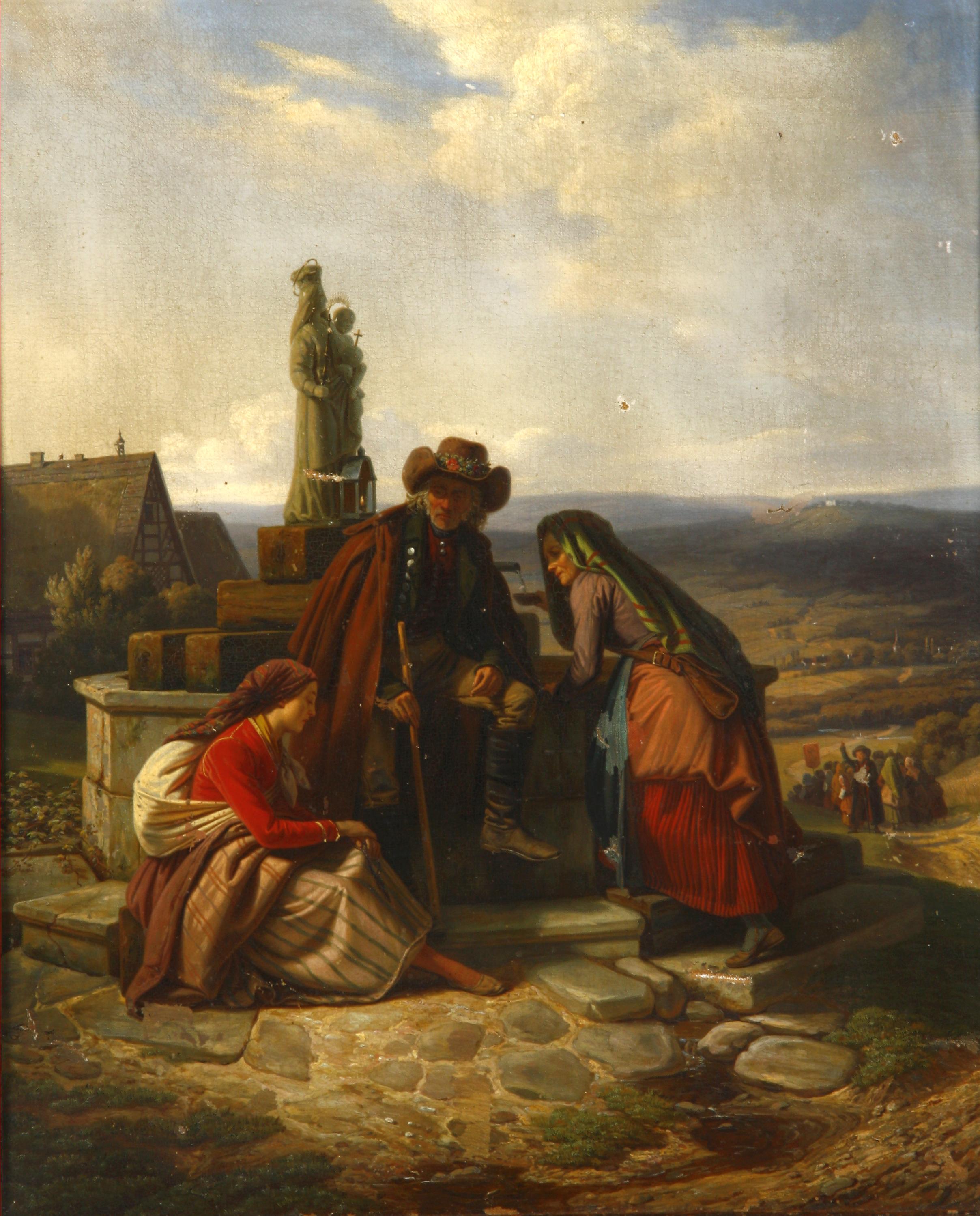 Ludwig Most, Bawarscy chłopi podczas pielgrzymki do Maria-Culm, 1843, olej na płótnie, obraz przed konserwacją, Muzeum Narodowe w Szczecinie
