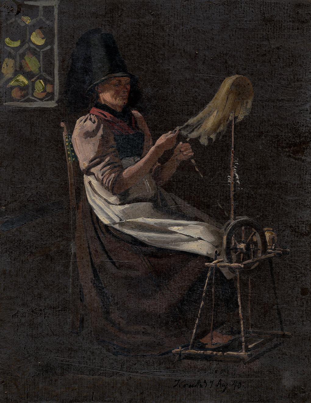 Zdj. 2 Ludwig Most, Prządka, 1840, studium olejne na papierze, praca z teki studiów Mosta, Muzeum Narodowe w Szczecinie
