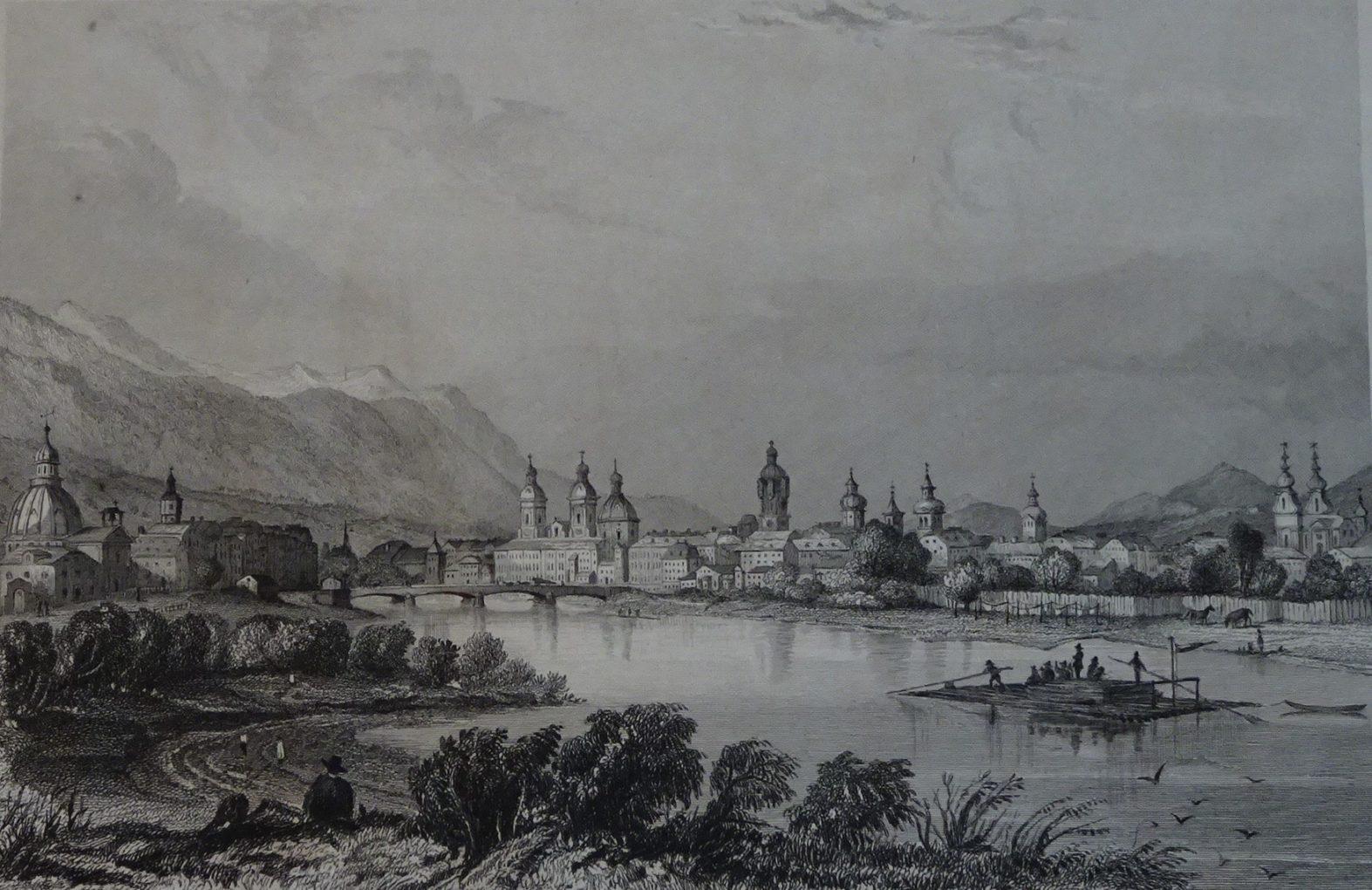 Henry Winkles według rysunku architekta J.M. Bayrera, Widok Innsbrucka, około 1840, staloryt na papierze czerpanym, Muzeum Narodowe w Szczecinie