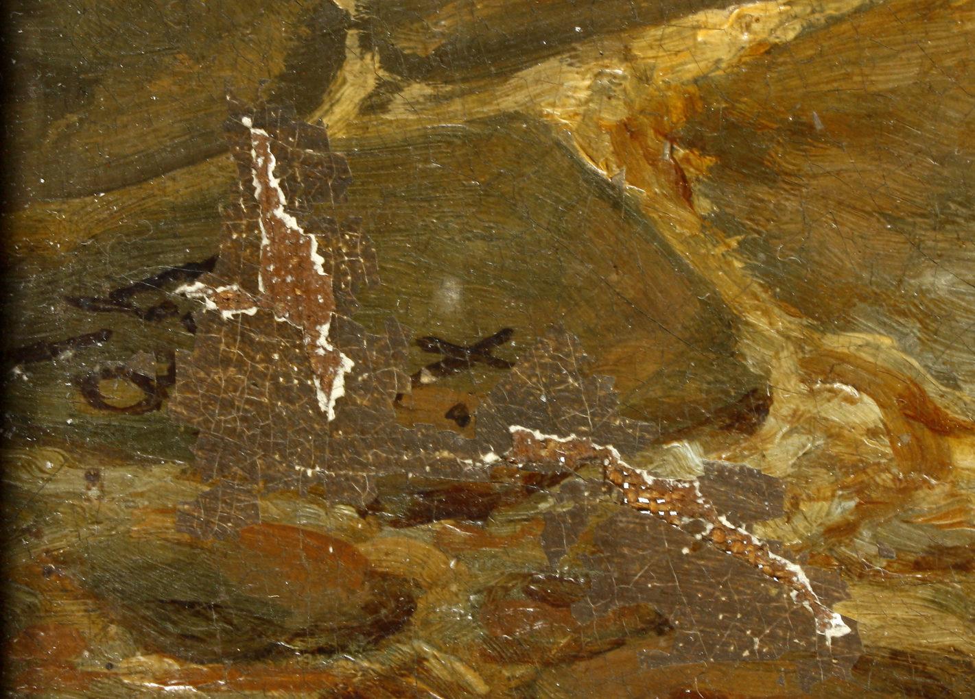 Sygnatura L. Mosta i data, wygląd przed konserwacją obrazu Bawarscy chłopi podczas pielgrzymki do Maria-Culm, 1843, olej na płótnie, Muzeum Narodowe w Szczecinie
