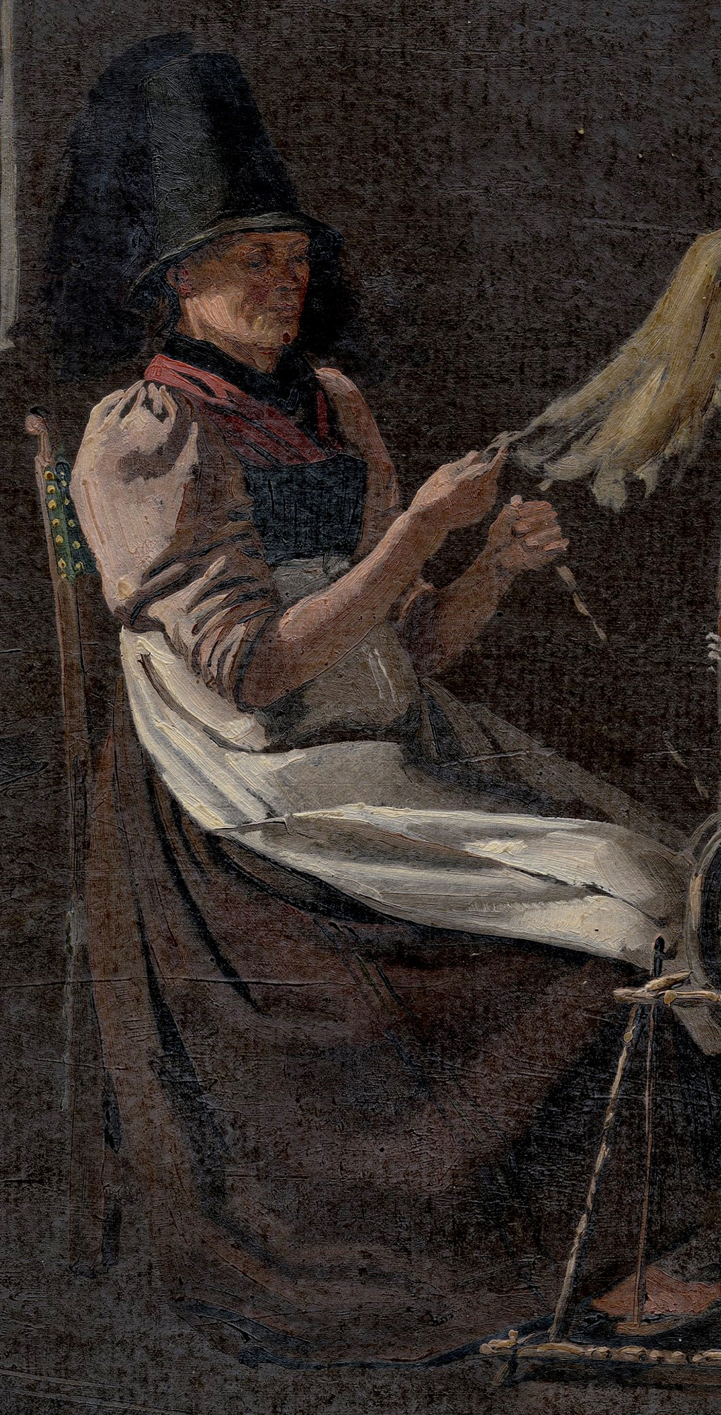 Żona myśliwego w stroju regionalnym, fragment studium Prządka, 1840, olej na papierze, Muzeum Narodowe w Szczecinie