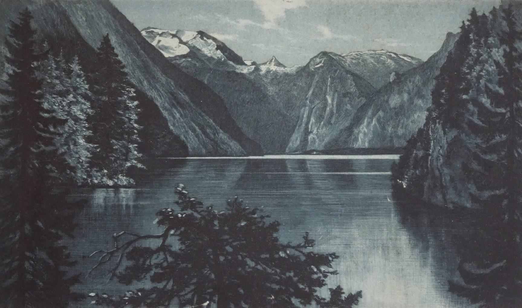 Arthur Tesmmers?, Königssee, 1. poł. XX w., akwaforta i akwatinta na papierze czerpanym, zbiory prywatne