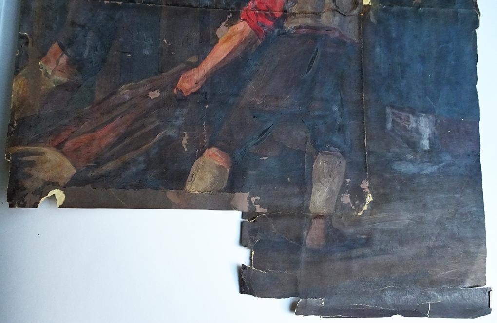 Dolny kawałek zniszczonego papieru, na którym Most namalował studium Powrót myśliwego, 1858, olej na papierze, Muzeum Narodowe w Szczecinie