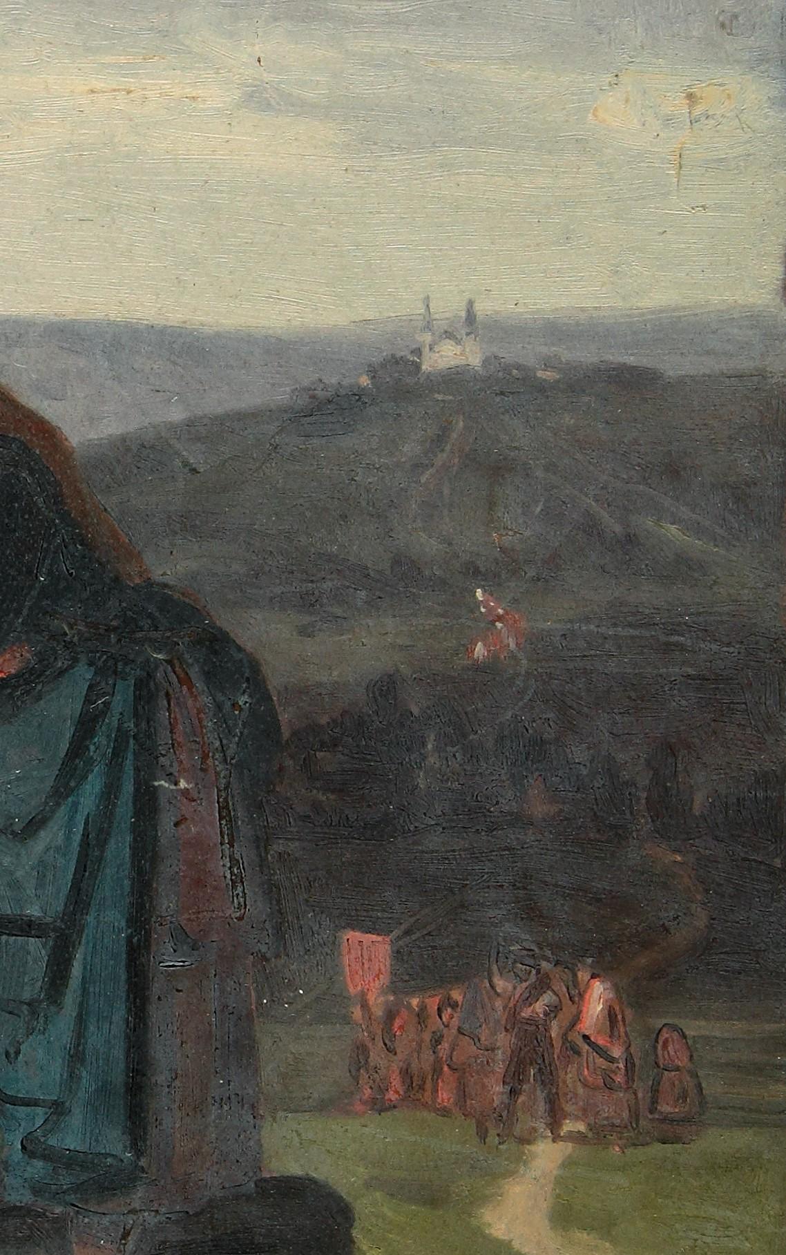 Ludwig Most, Widok krajobrazu z kościołem, fragment studium do obrazu Bawarscy chłopi podczas pielgrzymki do Maria-Culm, około 1843, olej na papierze, Muzeum Narodowe w Szczecinie