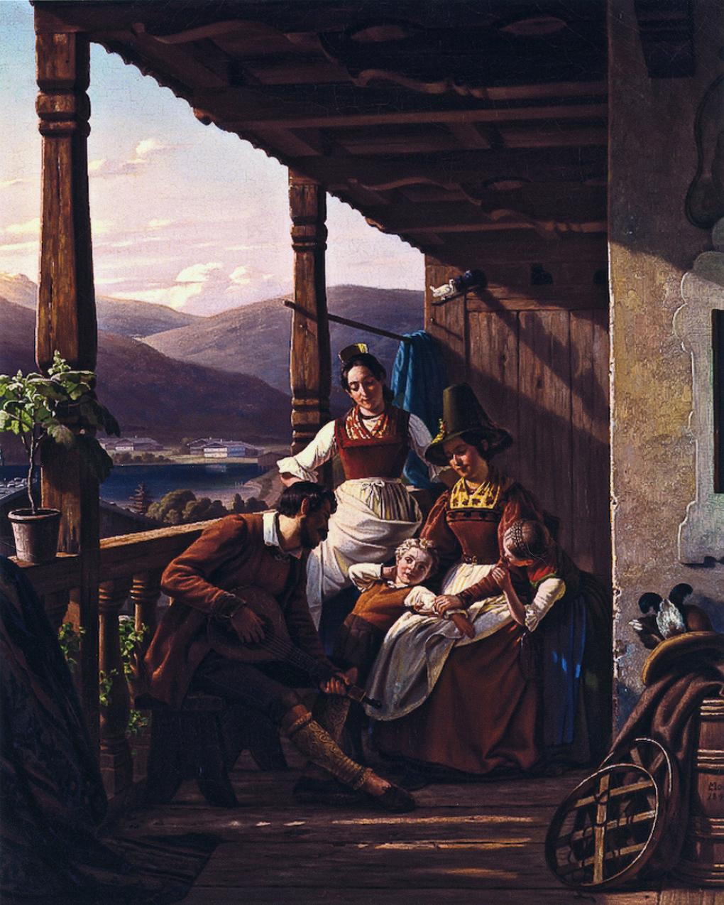Ludwig Most, Wieczór w Tyrolu, 1842, olej na płótnie, zbiory prywatne