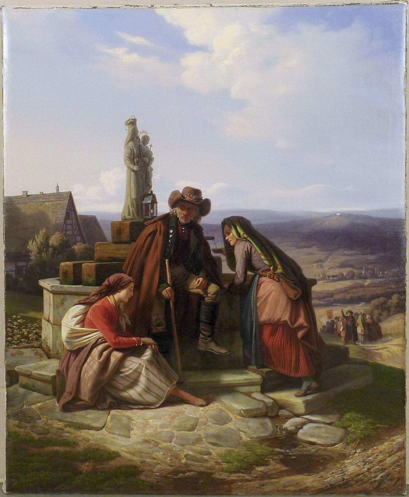 Ludwig Most, Bawarscy chłopi podczas pielgrzymki do Maria-Culm, 1843, olej na płótnie, obraz po konserwacji, Muzeum Narodowe w Szczecinie