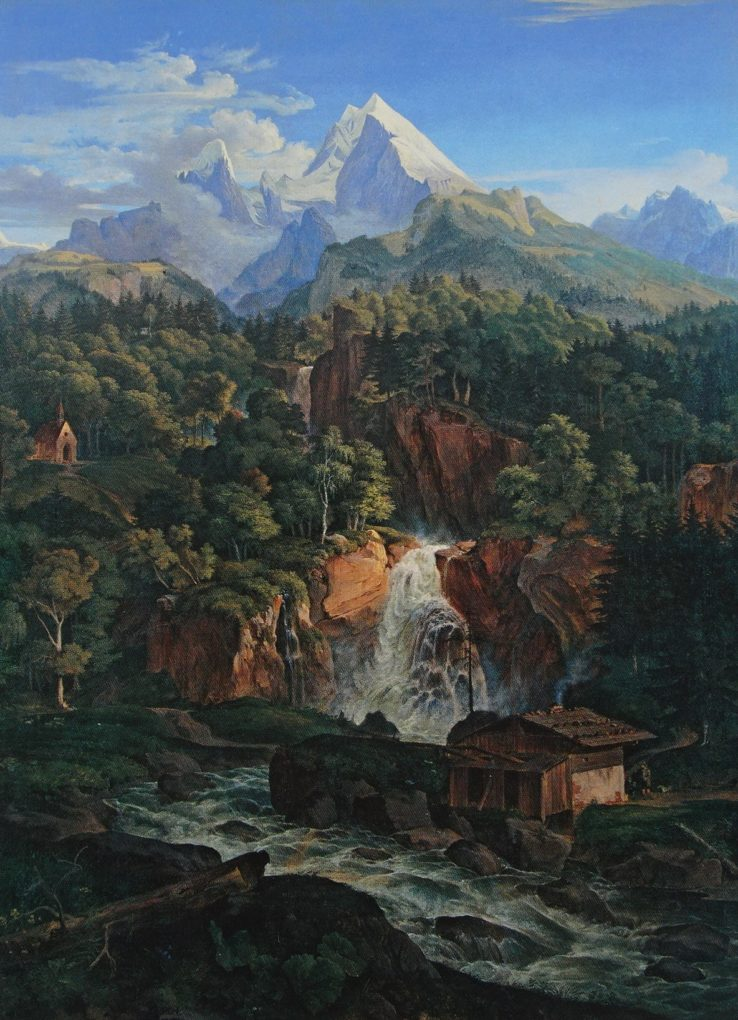 Ludwig Richter, Watzmann, 1824, obraz olejny na płótnie, Monachium, Nowa Pinakoteka, repr. w: Bettina Hausler, Der Berg. Schrecken und Faszinatin, München 2008, s. 59