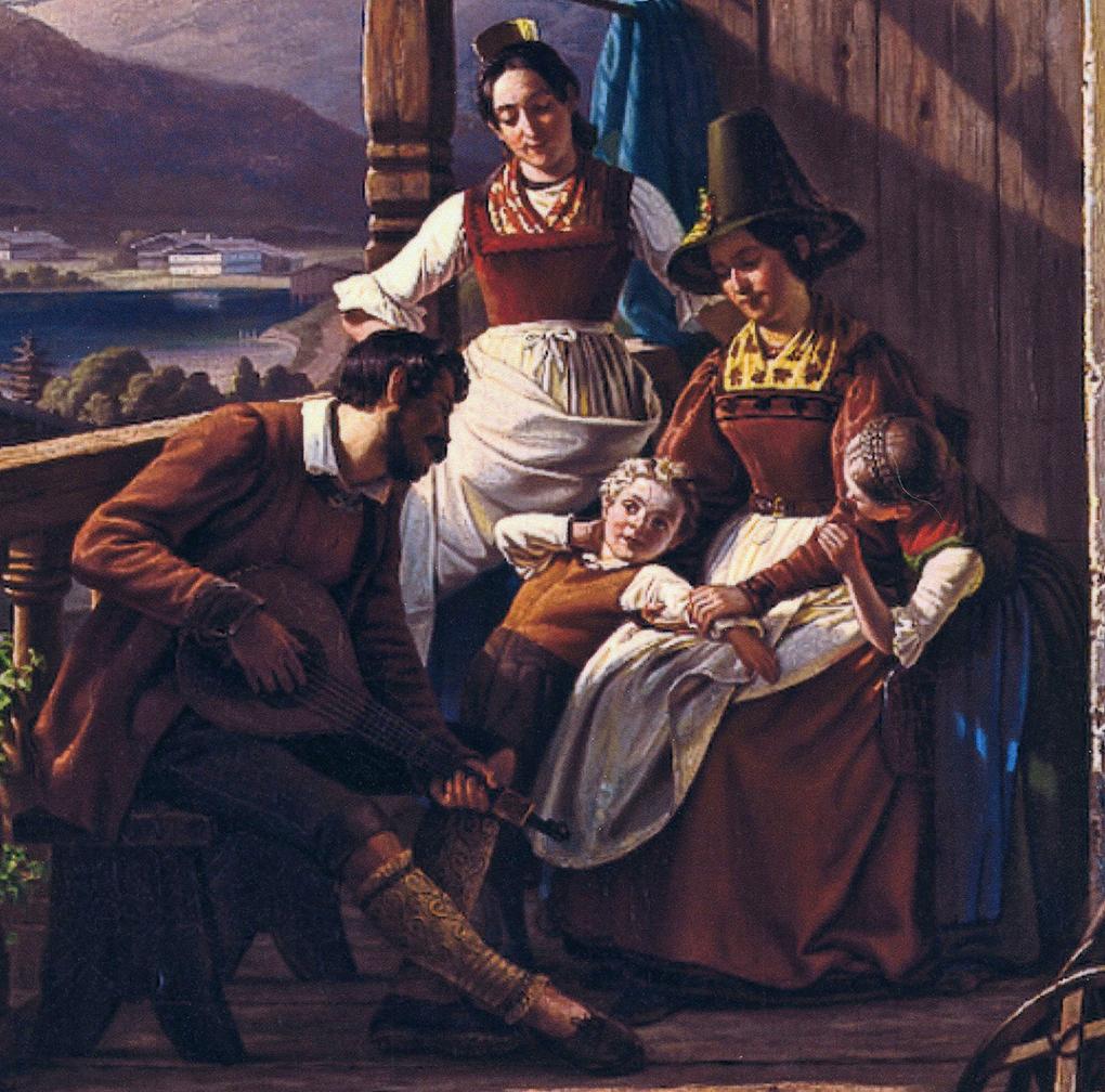 Ludwig Most, Grupa rodzinna, fragment obrazu Wieczór w Tyrolu, 1842, olej na płótnie, zbiory prywatne