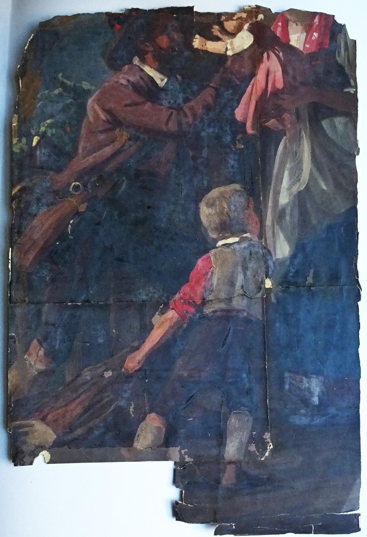 Ludwig Most, Powrót myśliwego, 1858, studium do obrazu o tym samym tytule, olej na papierze, przed konserwacją, Muzeum Narodowe w Szczecinie