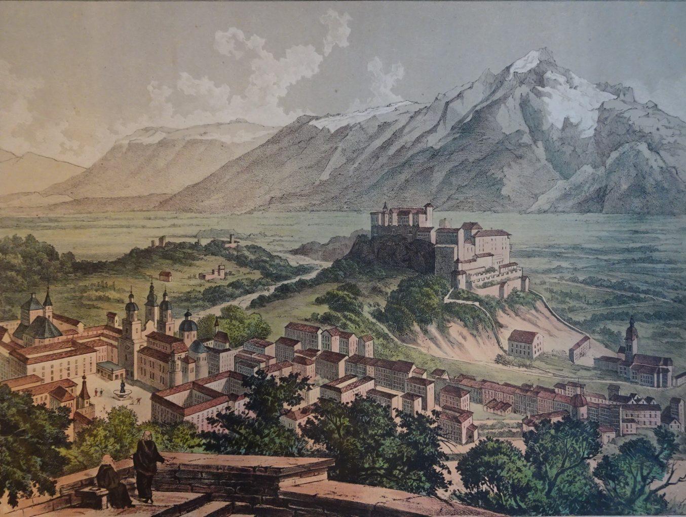 Widok Salzburga, wydał Winckelmann & Söhne, Berlin, około 1850, litografia kolorowana na papierze, Muzeum Narodowe w Szczecinie
