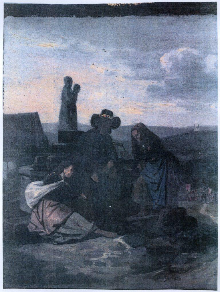 Ludwig Most, studium do obrazu Bawarscy chłopi podczas pielgrzymki do Maria-Culm, około 1843, olej na papierze, przed konserwacją, Muzeum Narodowe w Szczecinie