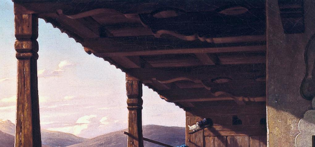Ludwig Most, Gołębnik w domu, fragment obrazu Wieczór w Tyrolu, 1842, olej na płótnie, zbiory prywatne