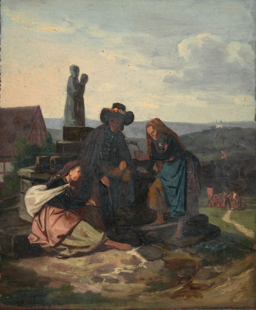Ludwig Most, studium do obrazu Bawarscy chłopi podczas pielgrzymki do Maria-Culm, około 1843, olej na papierze, po konserwacji, Muzeum Narodowe w Szczecinie