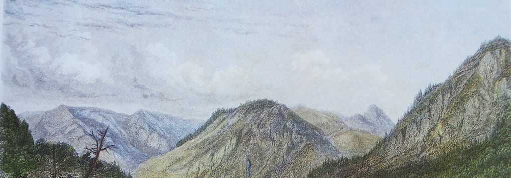 Artysta nieznany, Panorama Gór Błękitnych roztaczająca się z Bad Kreuth, fragment ryciny barwnej z około 1822 roku, reprodukcja w: H. Halmbacher, Das Tegernsee Tal in historischen Bildern, Hausham 1982, t. 2, s. 271