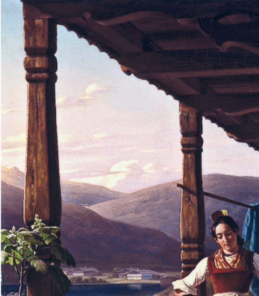 Ludwig Most, Pejzaż górski, fragment obrazu Wieczór w Tyrolu, 1842, olej na płótnie, zbiory prywatne