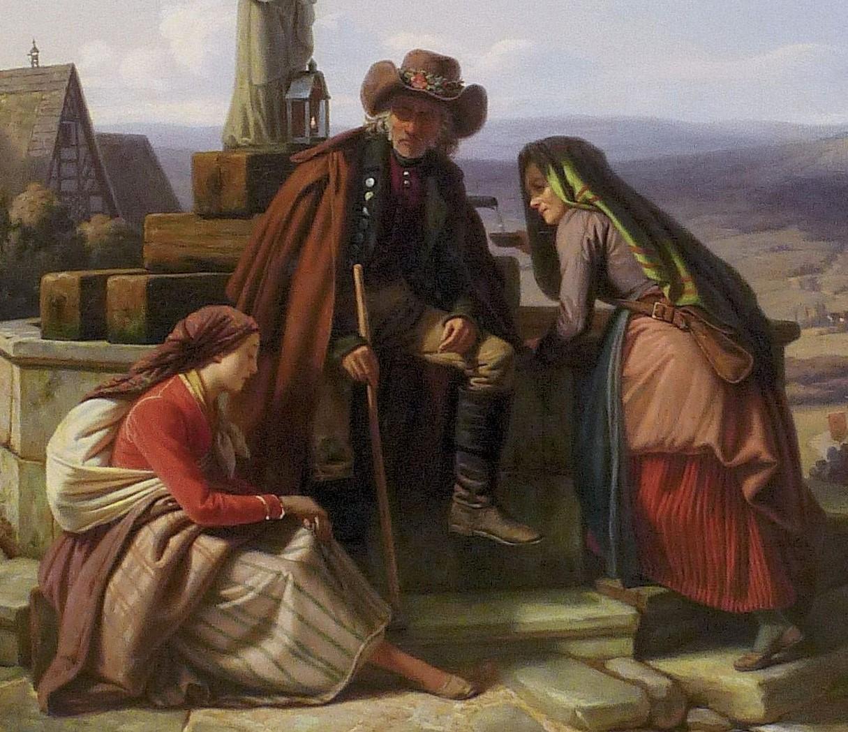 Ludwig Most, Rozmowa głównych bohaterów, pierwszy plan obrazu Bawarscy chłopi podczas pielgrzymki do Maria-Culm, 1843, olej na płótnie, po konserwacji, Muzeum Narodowe w Szczecinie