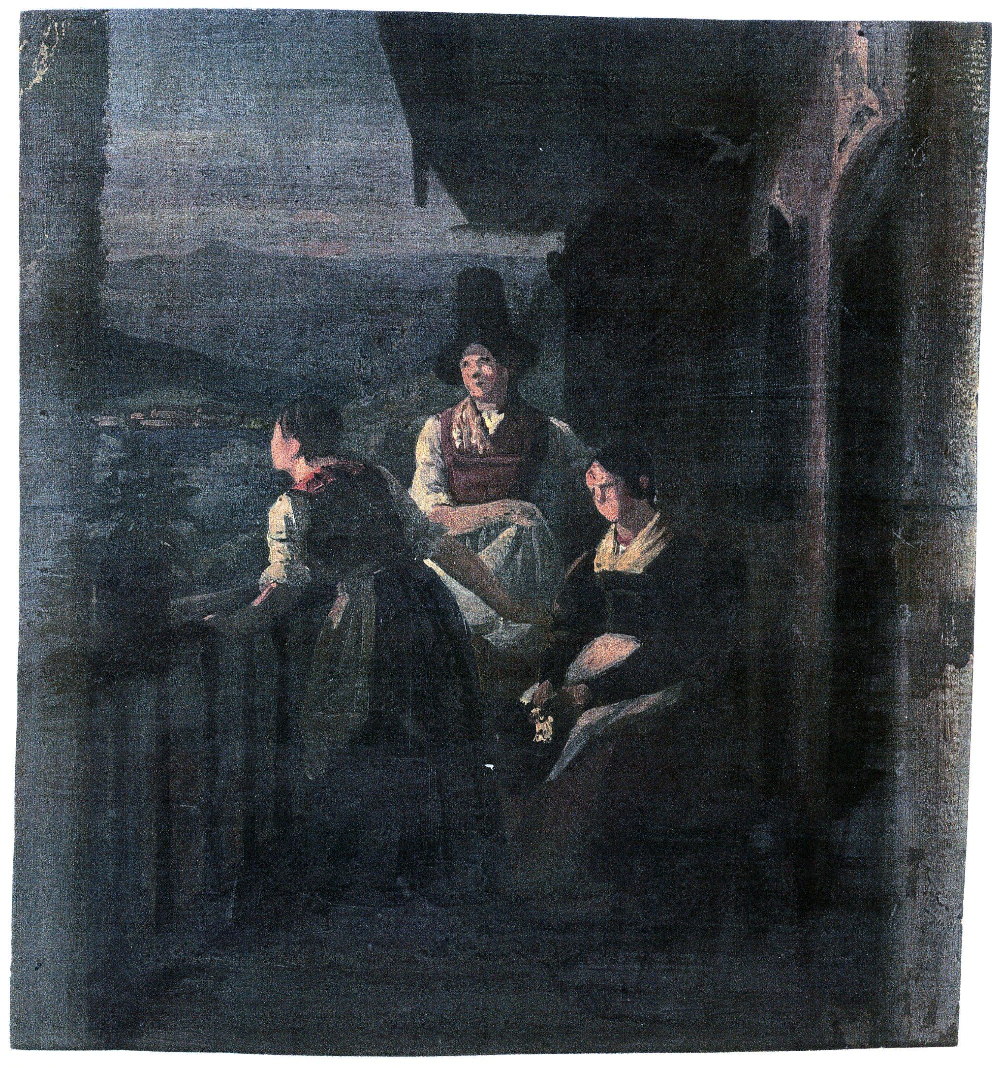 Ludwig Most, Wieczór w Tyrolu, studium do obrazu Wieczór w Tyrolu, 1842, olej na papierze, Muzeum Narodowe w Szczecinie