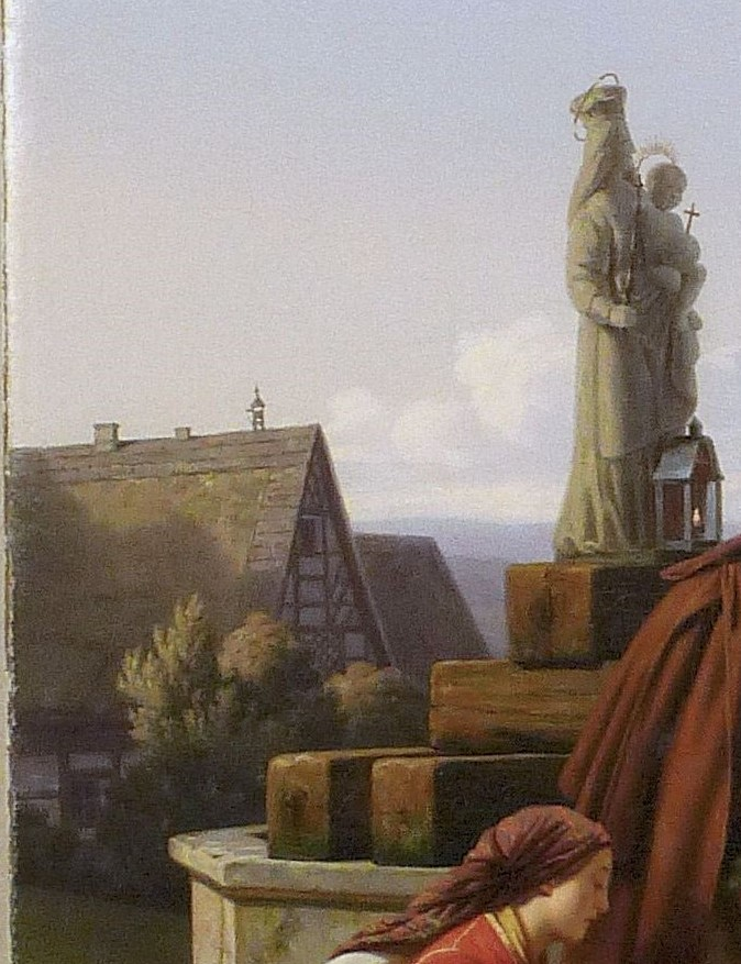 Ludwig Most, Domy wiejskie i studnia, fragment obrazu Bawarscy chłopi podczas pielgrzymki do Maria-Culm, 1843, olej na płótnie, po konserwacji, Muzeum Narodowe w Szczecinie