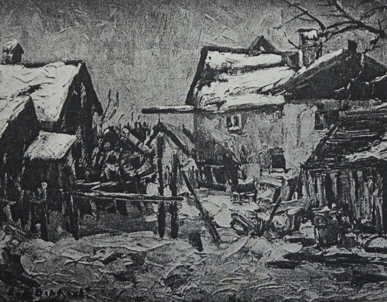"Chłopskie domy w Diessen, nie datowany, olej na płótnie, reprodukcja w: Otto Holtze, Eugen Dekkert. Zum 70. Geburtstag des Stettiner Malers, ""Bollwerk"" 1935, s. 296."