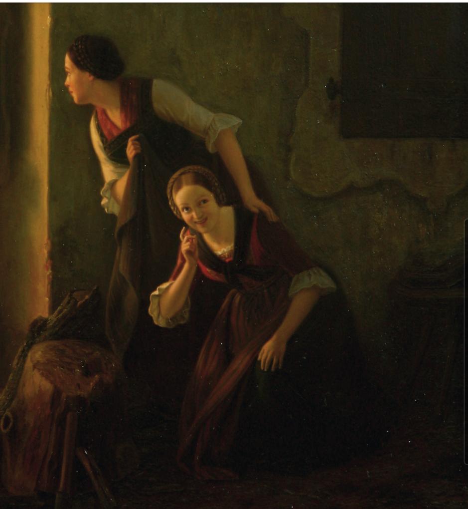 August Ludwig Most, Podglądające dziewczęta, fragment obrazu Podsłuchiwana randka, 1844, olej na płótnie, Muzeum Narodowe w Szczecinie
