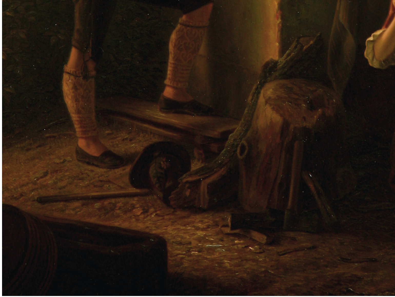 August Ludwig Most, Pień, ułamany konar, szczapy, siekiera i rzucony kapelusz, fragment obrazu Podsłuchiwana randka, 1844, olej na płótnie, Muzeum Narodowe w Szczecinie