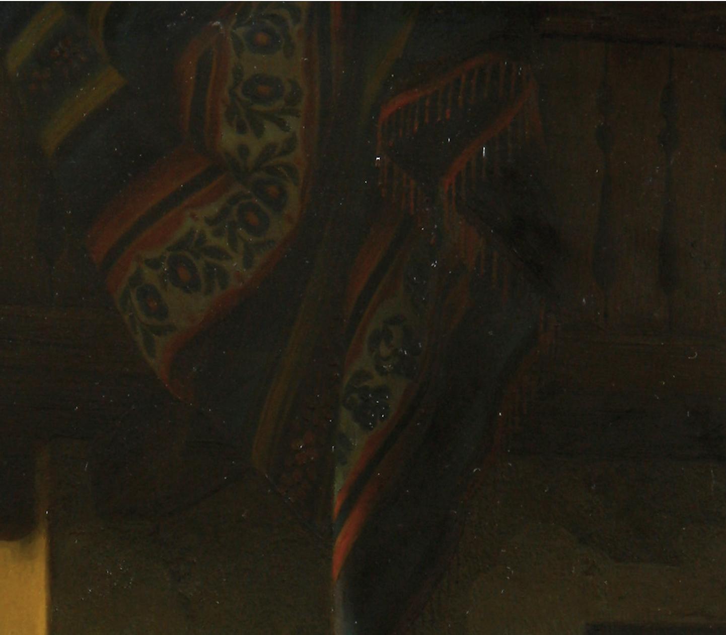 August Ludwig Most, Zwieszający się kilim, fragment obrazu Podsłuchiwana randka, 1844, olej na płótnie, Muzeum Narodowe w Szczecinie