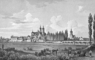 Panorama Wurzen, około 1850, grafika na papierze, reprodukcja w: https://de.wikipedia.org/wiki/Wurzen– dostęp 25.11.2019