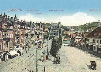 Widok centrum Blasewitz, placu Schillera, około 1910 roku, barwna pocztówka, https://de.wikipedia.org/wiki/Blasewitz– dostęp 25.11.2019