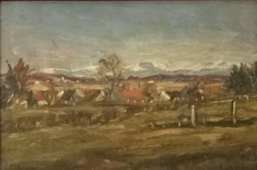 Panorama Alp, olej na płótnie, nie datowany, własność doktora Zygmunta Niedźwiedzia